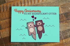 anniversary card significant otter pun anniversary card tiny bee cards