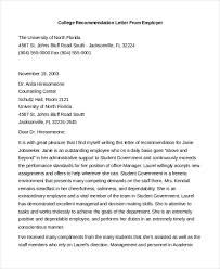 College Letter Of Recommendation From Sle Letter Of Recommendation For Employment 8 Free Documents