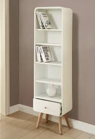 Bookcase With Drawers Vega Tall Bookcase In White Wood Veneer Ash Wood Legs
