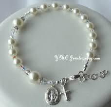 godmother bracelet sterling silver pearl rosary bracelet communion bracelet