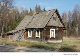 residential architecture small wooden house stock picture