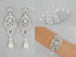 chandelier wedding earrings bridal earrings bridal jewelry set wedding bracelet
