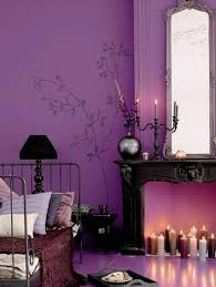 dark purple and gray bedroom black iron bed frame flooring stand