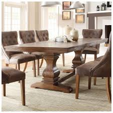 classic dining room with 8 piece wooden leather cushion dining