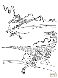 velociraptor dinosaurs coloring page free printable coloring pages
