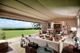 tropical living room with sandstone tile floors in honolulu hi