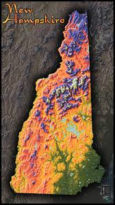 New Hampshire State Map by New Hampshire Topography Map Physical Terrain U0026 Mountains