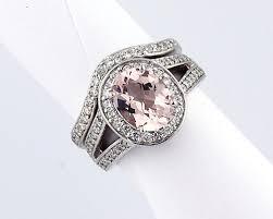 morganite bridal set checkerboard cut morganite solid 14k white gold diamond