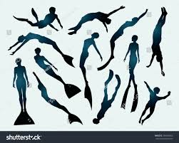 free silhouette images set free divers silhouette underwater sport stock vector 285580064