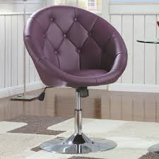 Swivel Accent Chair Contemporary Purple Swivel Accent Chair With Button Tufting And