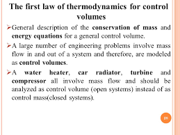 the first law of thermodynamics for control volumes