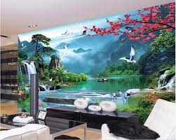 online get cheap 3d mountain river mural wallpaper aliexpress com 3d wall murals wallpaper for walls 3 d photo wallpaper mountain river boat nature landscape decor