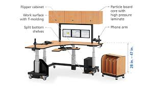 l shaped sit stand desk with overhead cabinets afcindustries com