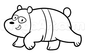 how to draw panda from we bare bears step by step cartoon