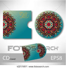 clipart of cd cover design template with ukrainian ethnic style