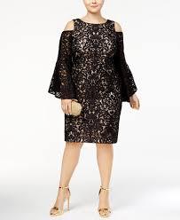 xscape plus size lace bell sleeve cold shoulder dress dresses