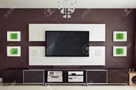 modern home theater modern home theater room interior with flat screen tv frontal