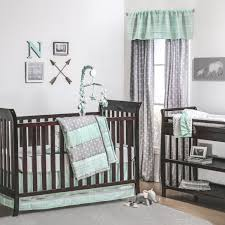 straight and arrow crib bedding starter set in mint u0026 grey