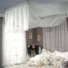 Hang Curtain From Ceiling Decorating Diy Canopy 2 Curtain Rods And 2 Sets Of Lill Sheer Curtains All