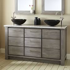 Venica Teak Double Vessel Sinks Vanity Gray Wash Bathroom - Bathroom vanities double vessel sink