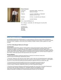 Maintenance Foreman Resume Maintenance Technician Resume Occupational Examples Samples