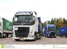 volvo semi truck service two volvo fh tank trucks leaving truck stop editorial stock image
