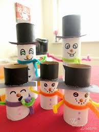cardboard tube snowman family craft the organized dream