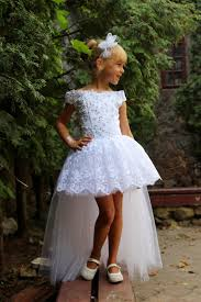 pretty hi lo kids birthday peasant gowns plus size tulle lace