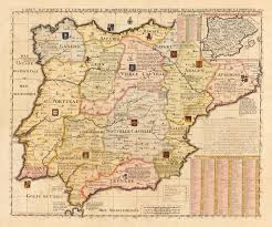 The Map Of Spain by French Map Of Spain And Portugal Early 18th Century