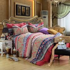 red brown bohemian pattern bedding set for twin bed with golden