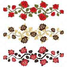 flower branch roses set ornament with roses floral print floral