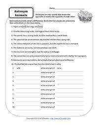 antonym animals 4th and 5th grade worksheets