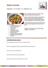 fiche cuisine une recette de cuisine fiche d exercices fiches pédagogiques