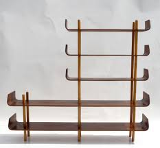 furniture cheerful wave dark brown wood bookcase room divider as