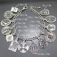 silver plated bangle bracelet images Vintage silver plated catholic religious church medals charm jpg