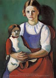 august macke blond girl with doll oil painting reion