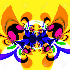 colorful psychedelic butterfly in flight cool modern style