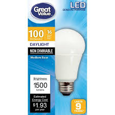 dimmable led light bulbs great value dimmable led light bulb 100w daylight 1 count