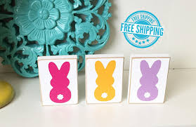 bunny decorations bunny trio blocks easter decor easter decorations