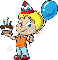 birthday boy the birthday boy with his cake clipart vector