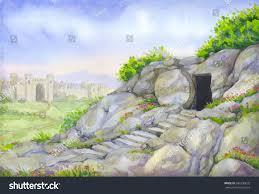 open empty shrine entombment sepulcher bright stock illustration