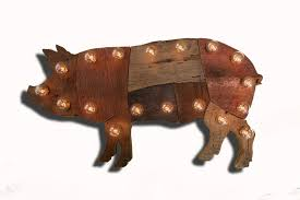 reclaimed wood marquee pig w lights shabby chic salvaged barn