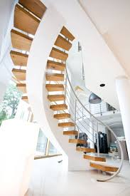 Contemporary Staircase Design Interior Design Curved Banister With Freestanding Staircase And