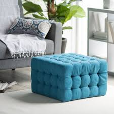 Square Ottomans Belham Living Allover Tufted Square Ottoman Teal Hayneedle