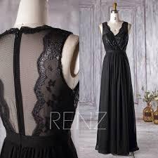 2016 black chiffon bridesmaid dress v neck lace wedding dress