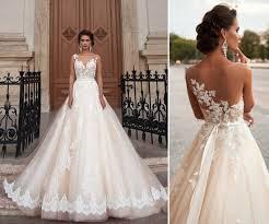 wedding dress illusion neckline illusion neckline sleeveless appliqued bush tulle a line