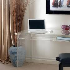 Clear Desk Accessories Funiture Clear Acrylic Furniture With The Opened Laptop And Three