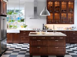 small ikea kitchen design with dark brown wood laminate flooring