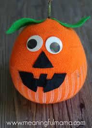 Halloween Craft Kids - sock pumpkin craft
