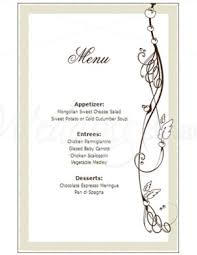 wedding menu templates printable whisper of nature menu template
